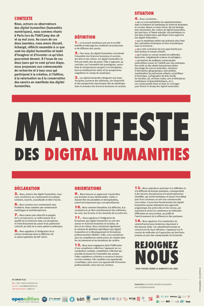Manifeste des humanités numériques