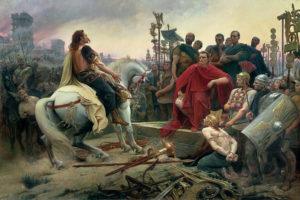 Vercingetorix jette ses armes aux pieds de Jules César.