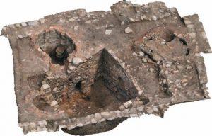 Vue en perspective d'un ensemble de fours fouillé en 2014, en fin de fouilles. Le four F13 est situé en haut à gauche du cliché. Vue 3d issue du relevé photogrammétrique (M. Thivet, A. Stock).