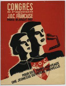 Affiche du rassemblement des 10 ans de la JOC en 1937 au Parc des Princes de Paris