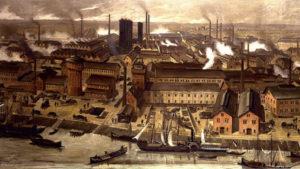 L'usine chimique de BASF à Ludwigshafen en Allemagne, 1881. Carte postale ancienne de Robert Friedrich Stieler (1847–1908) archive de BASF.